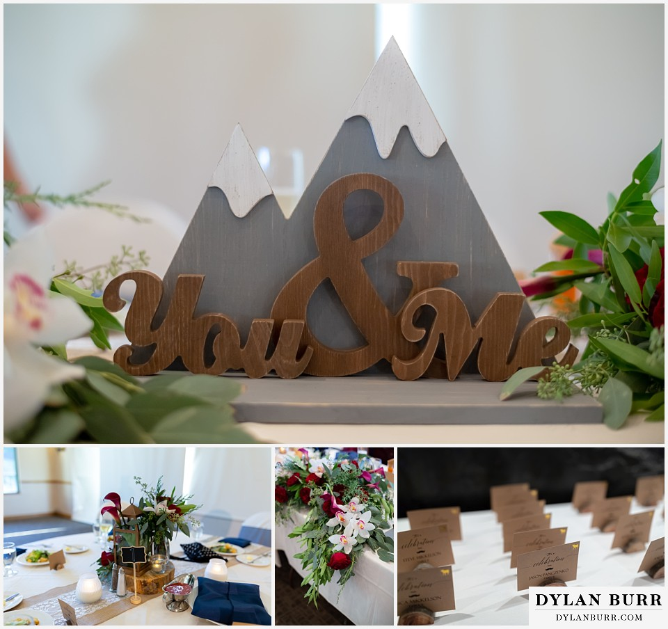 winter park mountain lodge wedding colorado you and me wooden table sign