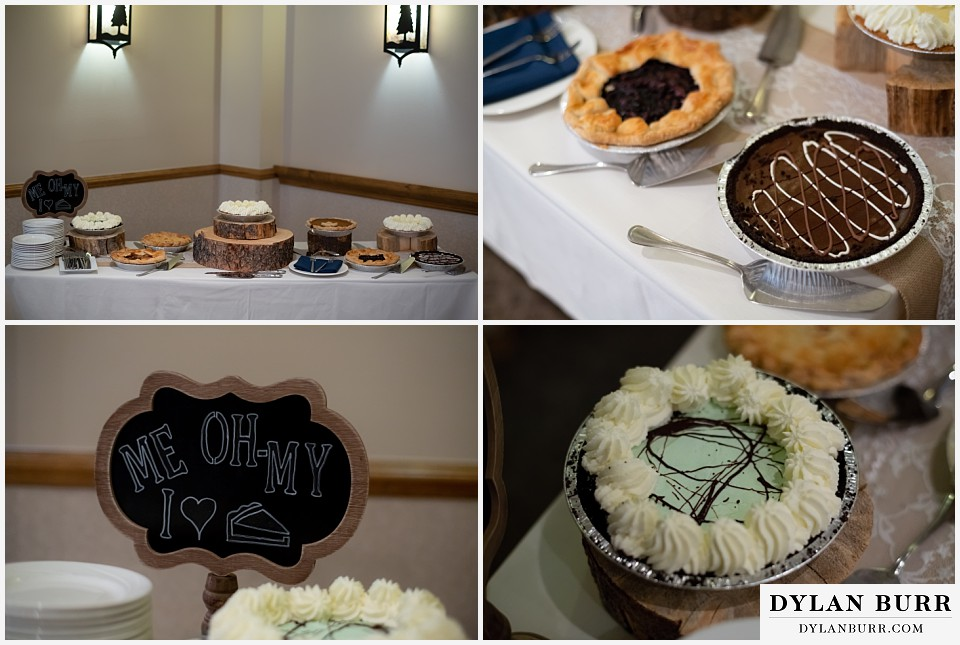 winter park mountain lodge wedding colorado wedding pies