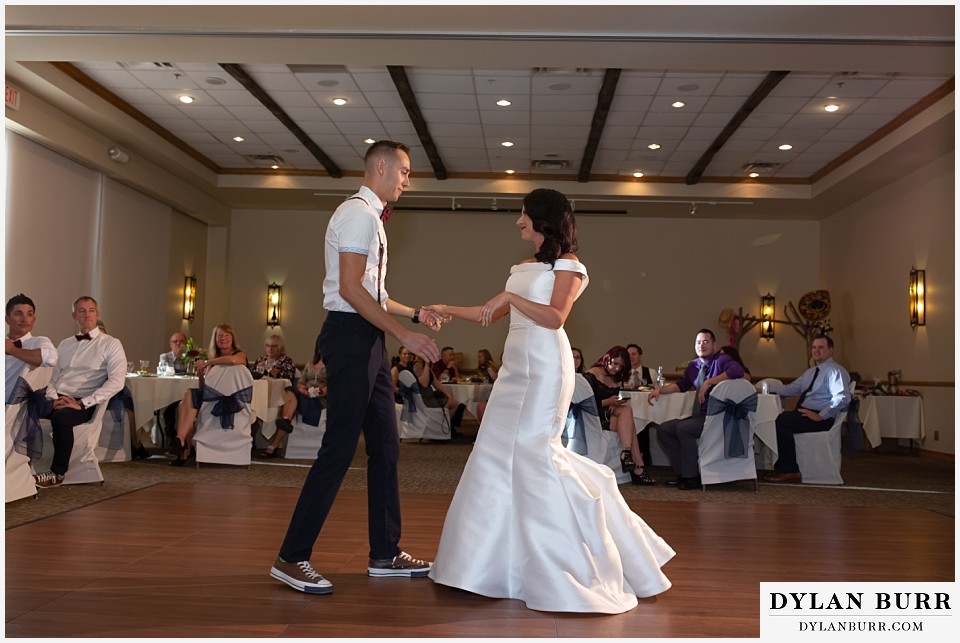 winter park mountain lodge wedding colorado newlywed couple first dance