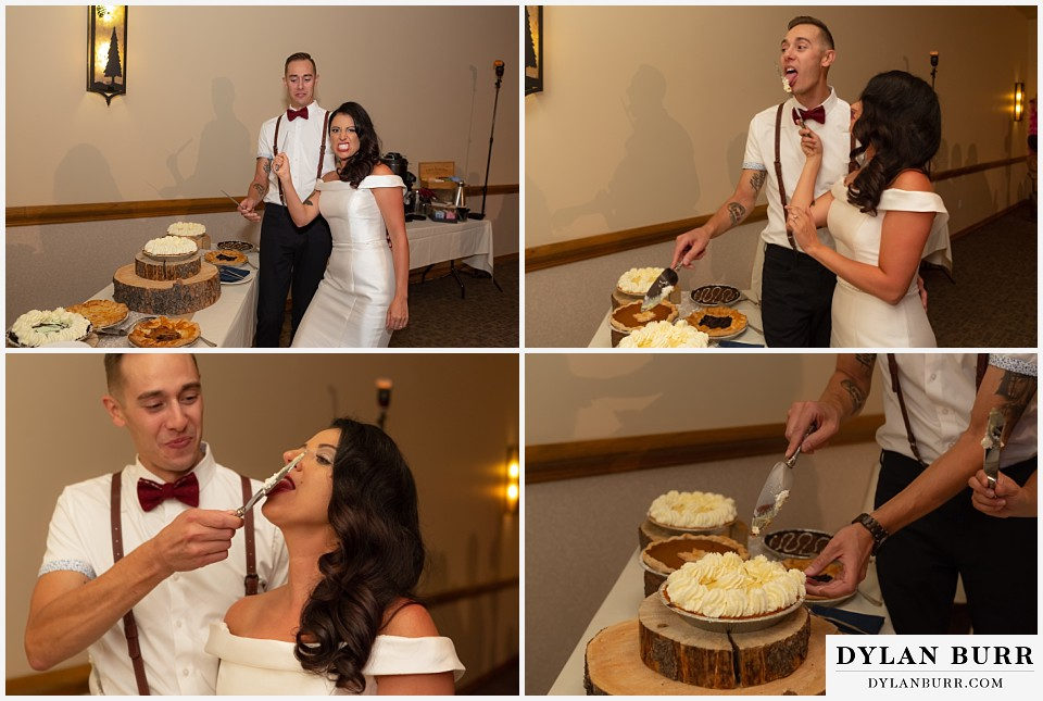 winter park mountain lodge wedding colorado cutting the wedding pie