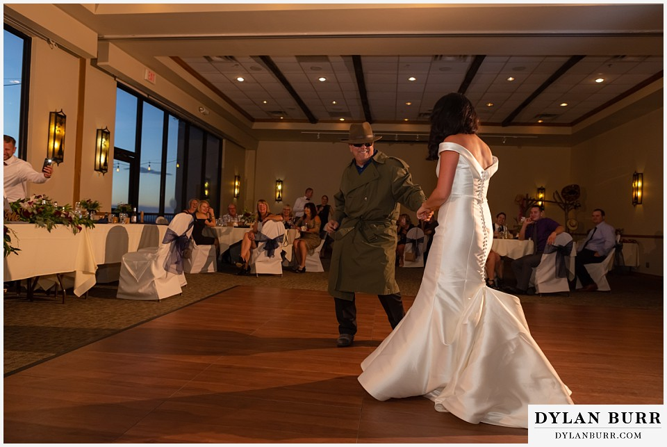 winter park mountain lodge wedding colorado father daughter dance funny secret agent man