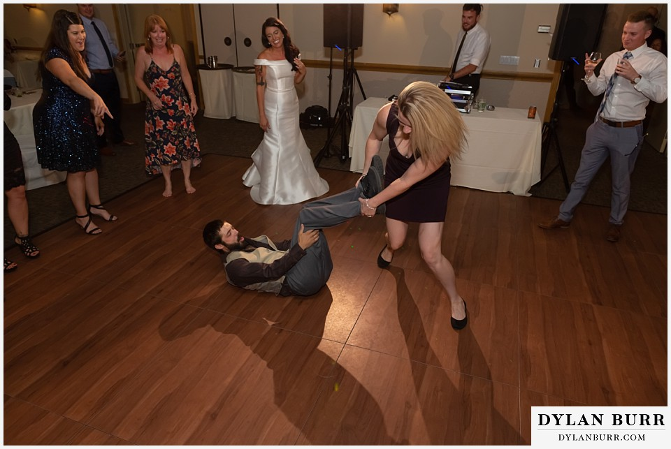 winter park mountain lodge wedding colorado guests spinning themselves on dancefloor