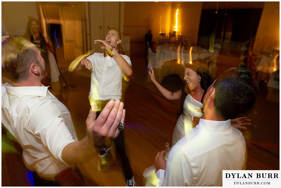 winter park mountain lodge wedding colorado bride and groom partying
