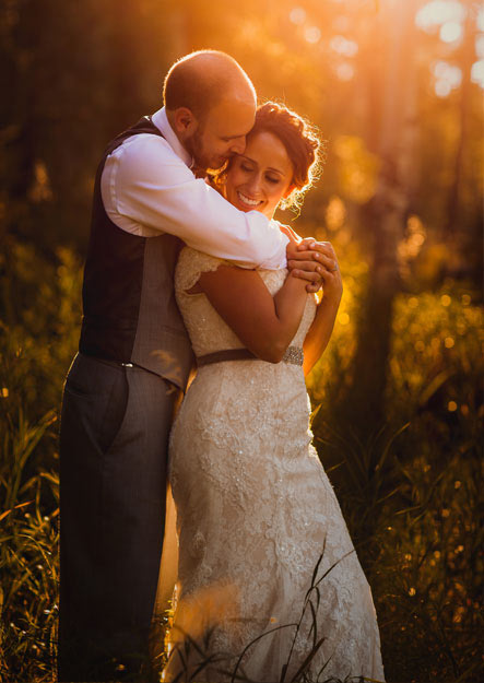 Colorado mountain wedding photo of couple at sunset